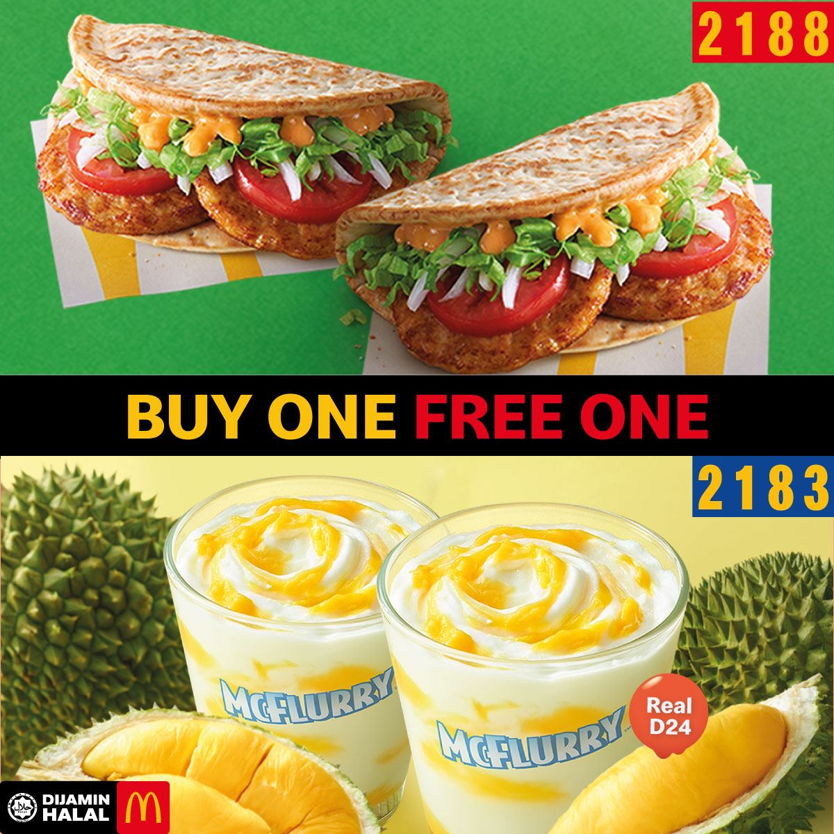 mcd buy 1 free 1 chicken foldover & durian McFlurry