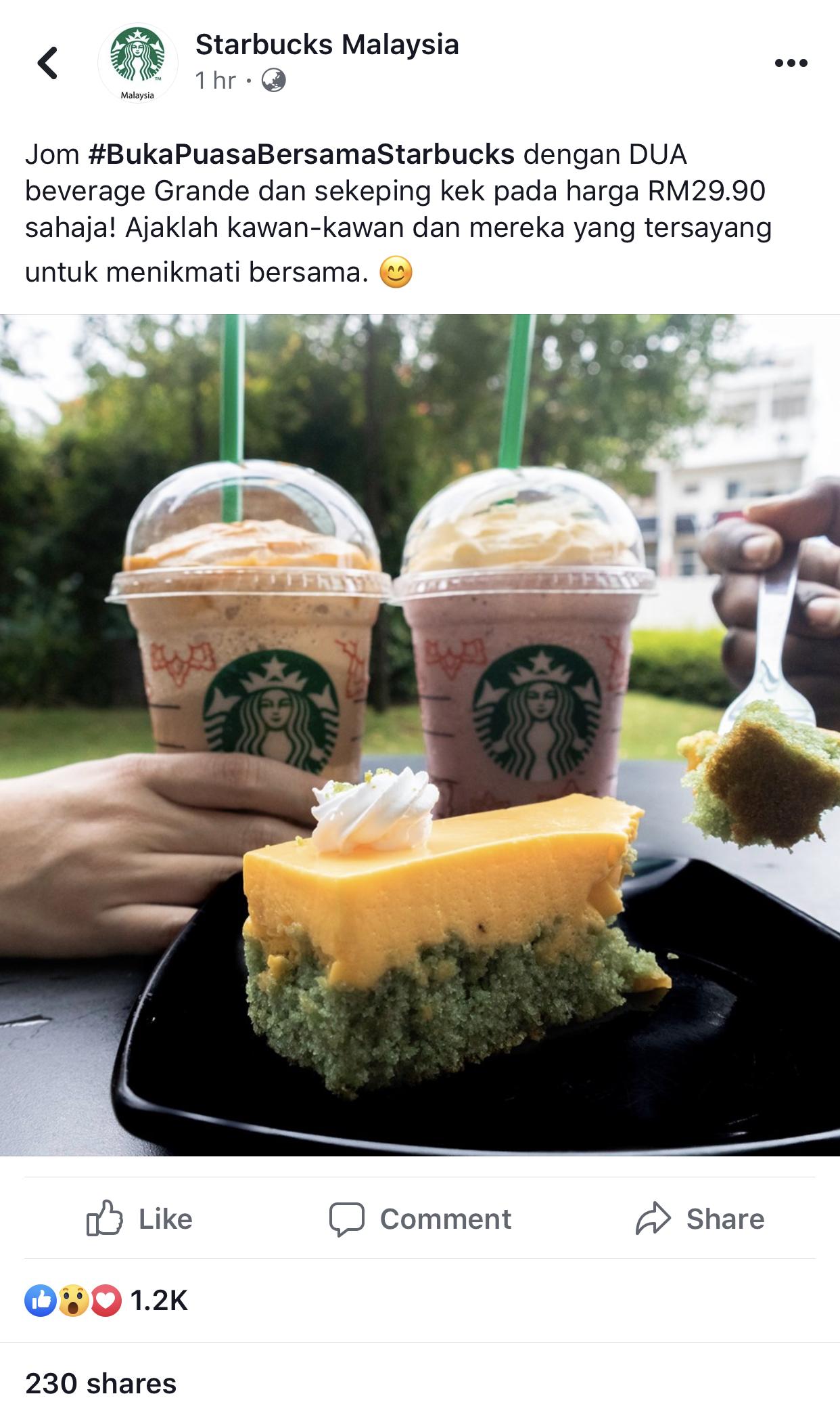 Starbucks Ramadan Promotion 2 Grande Beverages + 1 Cake At