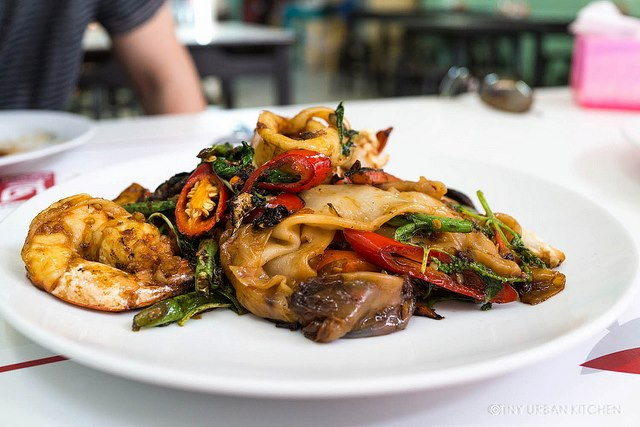 Jay Fai's Street Food Drunken Noodles in Bangkok, Thailand. Recommended by Michelin guides.