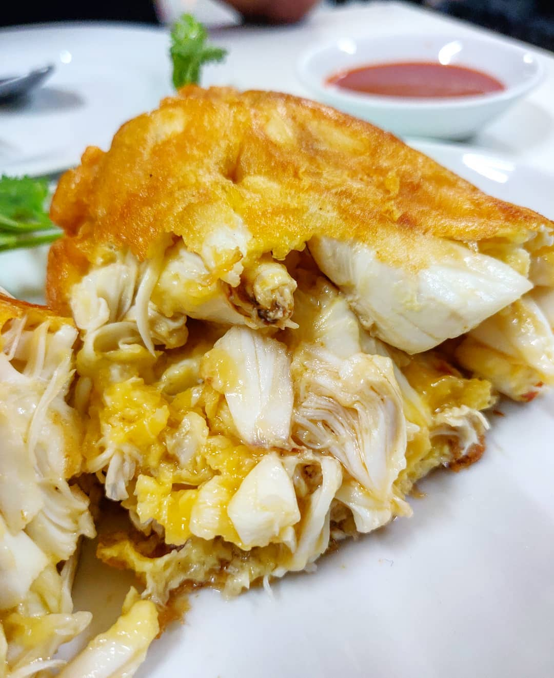Jay Fai's Street Food Crab Omelette in Bangkok, Thailand. Recommended by Michelin guides.